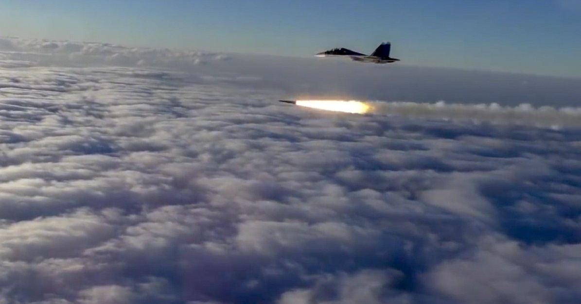 An Su-30 fighter jet of the Russian air force launches a missile during maneuvers in southern Russia in this image made from footage from a Russian Defense Ministry official web site on Thursday, Sept. 27, 2018. (Russian Defense Ministry Press Service via AP)