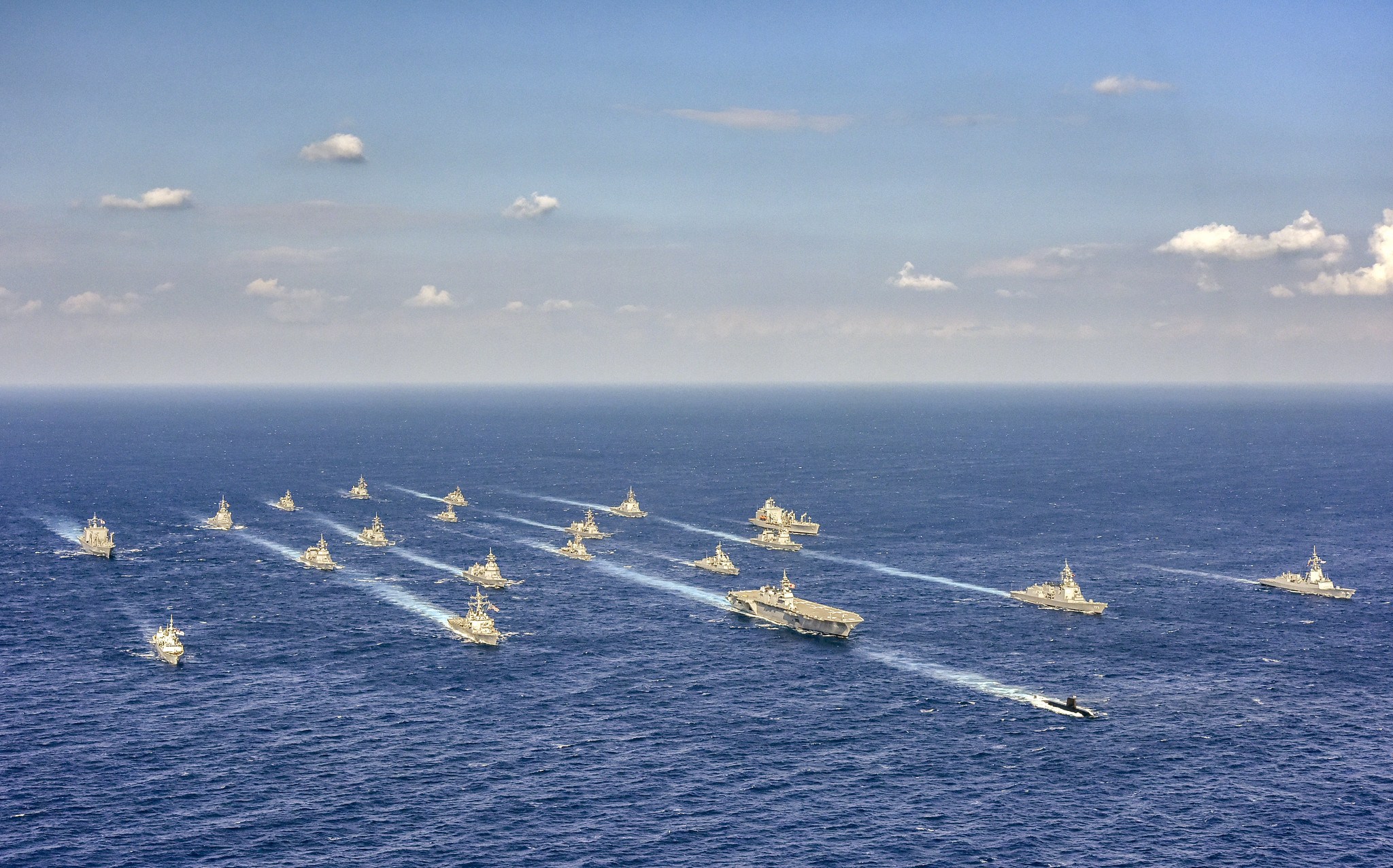 Ships from the U.S. Navy, Japan Maritime Self-Defense Force, Royal Australian Navy, and Royal Canadian Navy are underway in formation during Annual Exercise (ANNUALEX) 19 on Nov. 11 in the Philippine Sea. (Courtesy of Japan Maritime Self-Defense Force via U.S. Navy)