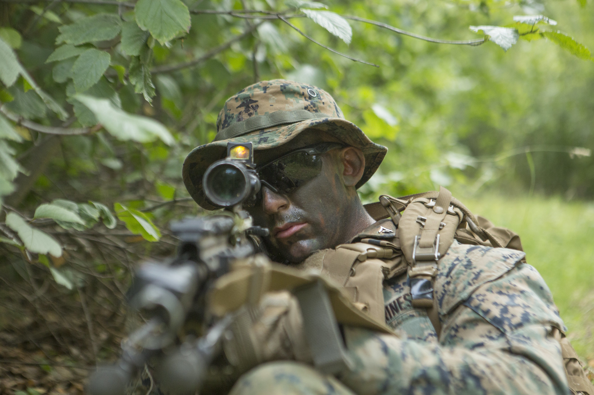 Lance Cpl. Dylan Beads posts security for his squad during the 4th Marine Division Super Squad Competition on Aug. 13, 2019, at Joint Base Elmendorf-Richardson. (Cpl Ronald L. Parker II/Marine Corps)