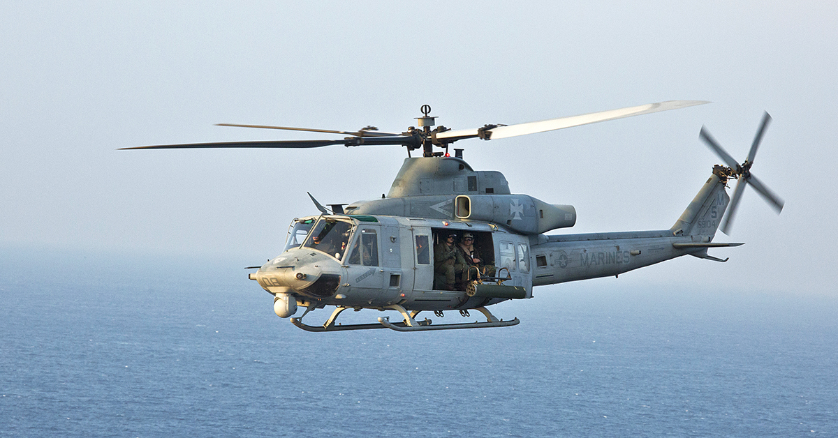 This Nov. 9, 2017 photo provided by the U.S. Marine Corps shows a UH-1Y Venom helicopter en route to Camp Schwab on Okinawa, in Japan. It's the same type helicopter whose tail rotor blade fatally struck a sailor at Camp Pendleton Marine Corps base north of San Diego. The incident happened Wednesday evening, Feb. 21, 2018. (Cpl. Hailey D. Clay/U.S. Marine Corps via AP)