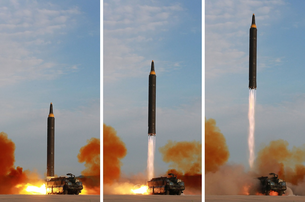 Three Hwasong-12 missiles were launched in April 2017. The first three tests of the Hwasong-12 intermediate-range ballistic missile are believed to have failed. Since these failures, the missile has complete three successful tests. It is capable of carrying a nuclear warhead and can be launched from road-mobile transporter erector launchers. This undated image released from North Korea's official Korean Central News Agency shows a launching drill of the Hwasong-12. (STR/AFP via Getty Images)