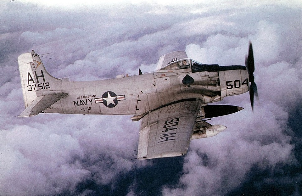 A U.S. Navy Douglas A-1H Skyraider of attack squadron VA-152 Friendlies in flight in 1966. VA-152 was assigned to Attack Carrier Air Wing 16 aboard the aircraft carrier USS Oriskany for a deployment to Vietnam from 26 May to 16 November the same year. The A-1H 137512 was later lost over Laos to ground fire on July 4, 1969, while in service with the USAF 56th Special Operations Wing. The pilot, Col. Patrick M. Fallon, vice commander, 56th SOW, ejected safely but was later missing in action, presumed dead. (U.S. Air Force)