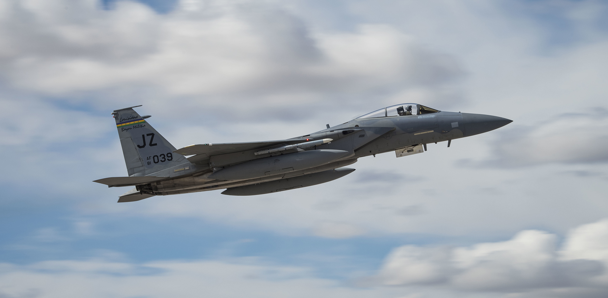 An F-15E Strike Eagle fighter jet takes off MArch 12, 2019, to participate in Red Flag 19-2 at Nellis Air Force Base, Nev. (Airman 1st Class Bailee A. Darbasie/Air Force)