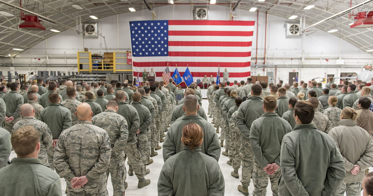 Airmen from the 115th Maintenance Group, Truax Field, Wis., stand in formation during a 115th MXG change of command ceremony Dec. 2, 2018. (Airman 1st Class Cameron Lewis/Air National Guard)