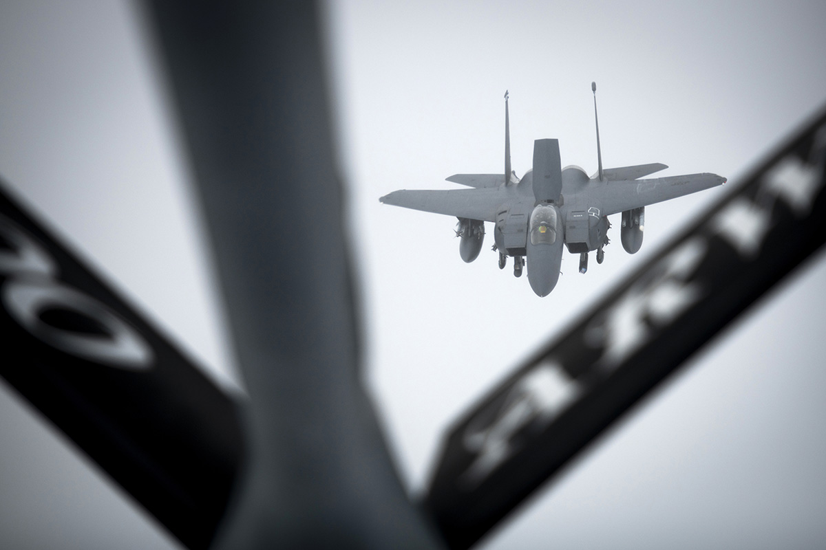 A U.S. Air Force F-15E Strike Eagle approaches a KC-135 Stratotanker to receive fuel over Scotland during exercise Joint Warrior 19-1 on April 4, 2019. (Tech. Sgt. Emerson Nuñez/Air Force)