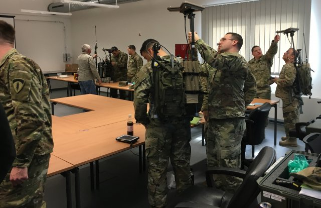 Soldiers with the 2nd Cavalry Regiment train on the VMAX and VROD Dismounted Electronic Support/ Attack system at Grafenwoehr Training Area, Germany, in March. (Army)