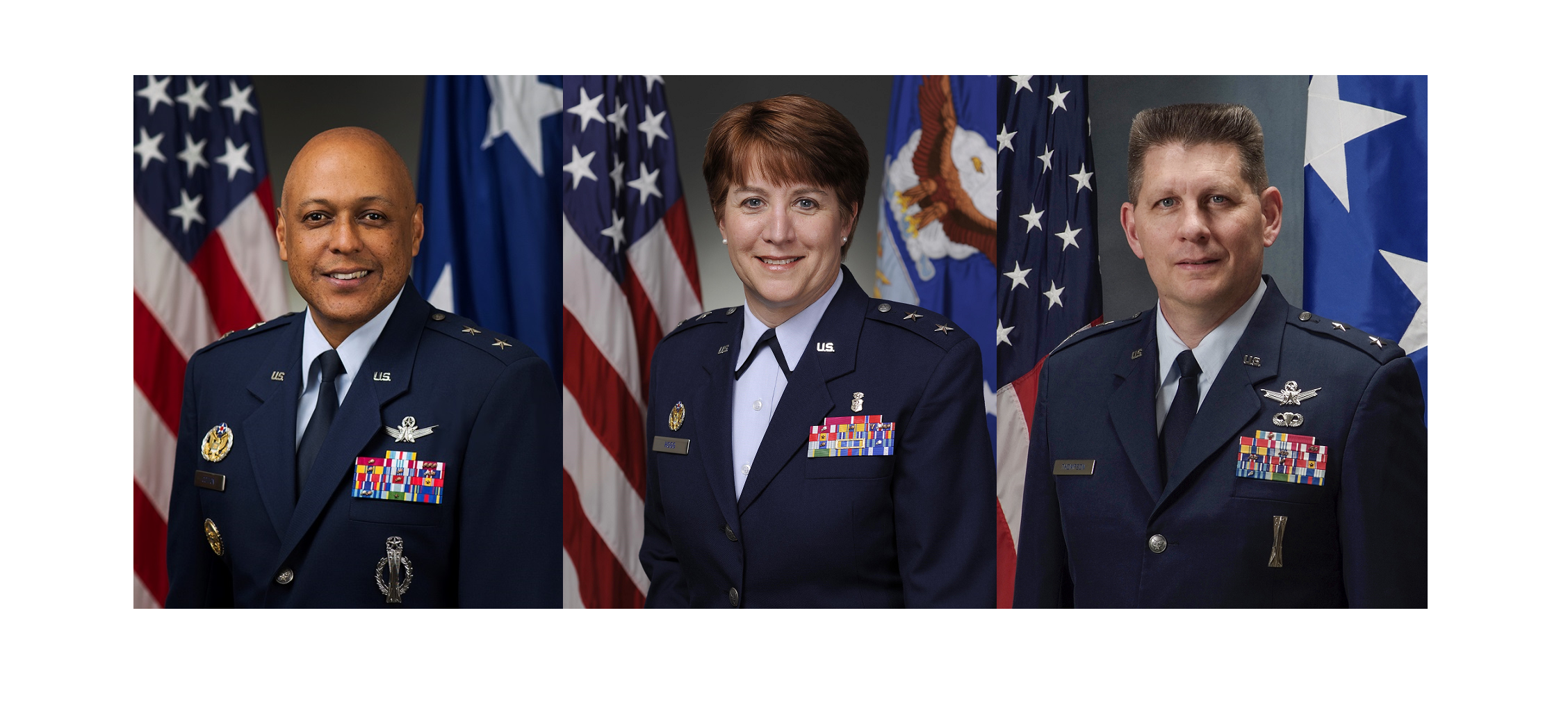 Left to right, Maj. Gen. Anthony Cotton, Maj. Gen. Dorothy Hogg and Maj. Gen. David Thompson have been nominated to receive their third stars and new assignments. (Air Force)