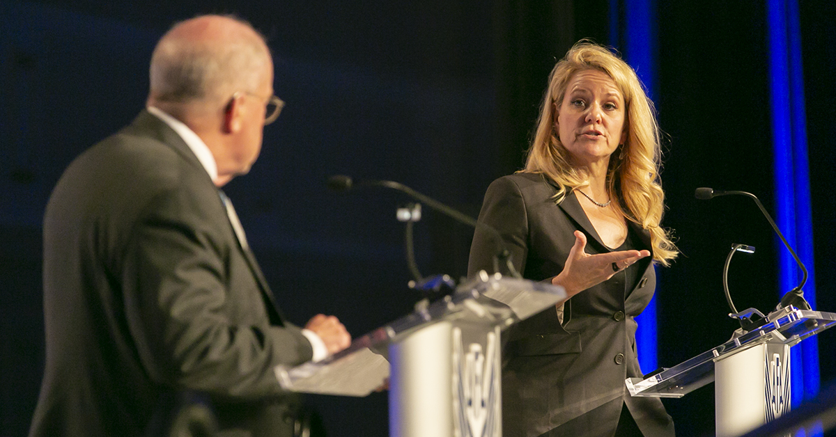 Gwynne Shotwell, President and Chief Operating Officer at SpaceX, speaks during the opening day of the Air Force Association's Air, Space & Cyber conference held at the Gaylord National Resort & Conference Center in Oxon Hill, MD. (Alan Lessig/Staff)