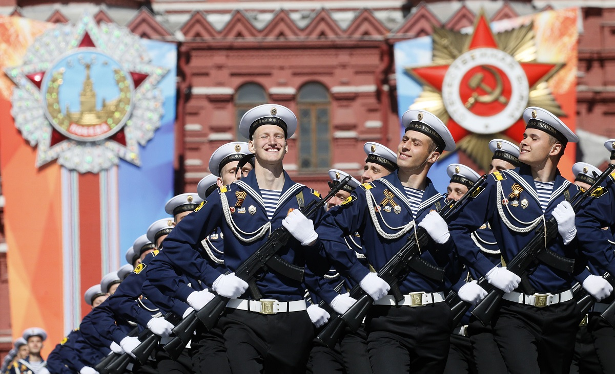 Russian sailors march at Red Square during the Victory Day military parade in Moscow on May 9, 2018. (Maxim Shipenkov/AFP via Getty Images)