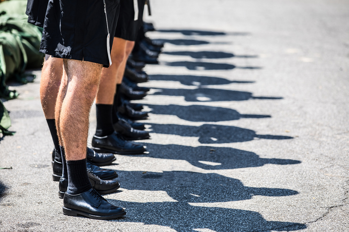 A U.S. Military Academy at West Point senior teaches new cadets how to salute and march during Reception Day on July 2, 2018. (Michelle Eberhart/Army)