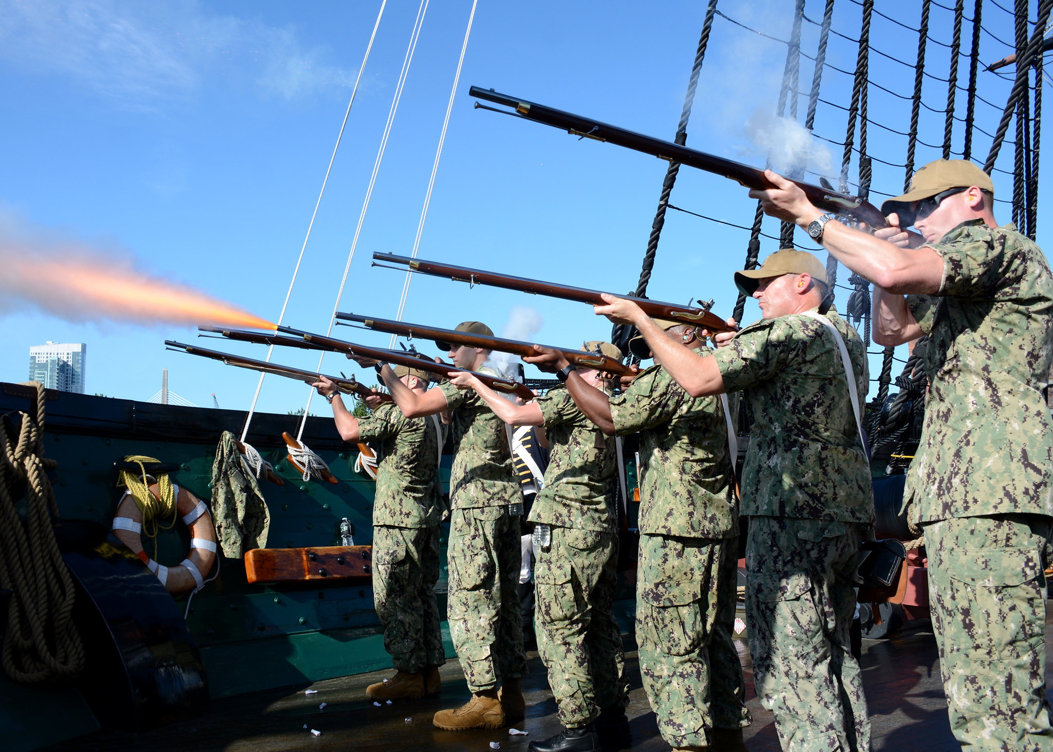 Chief petty officer selects come together on Aug. 20, 2019, for Chief Heritage weeks events aboard the oldest commissioned warship afloat in the world, USS Constitution, in Boston. (Mass Communication Specialist 2nd Class Jerine Lee/Navy)