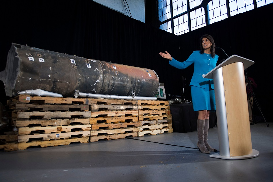 U.S. Ambassador to the United Nations Nikki Haley unveiled previously classified information to prove Iran violated United Nations Security Council Resolution 2231 by providing the Houthi rebels in Yemen with arms during a press conference at Joint Base Anacostia in Washington on Dec. 14, 2017. Haley said Thursday that a missile fired by Houthi militants at Saudi Arabia last month had been made in Iran. (Jim Watson/AFP/Getty Images)