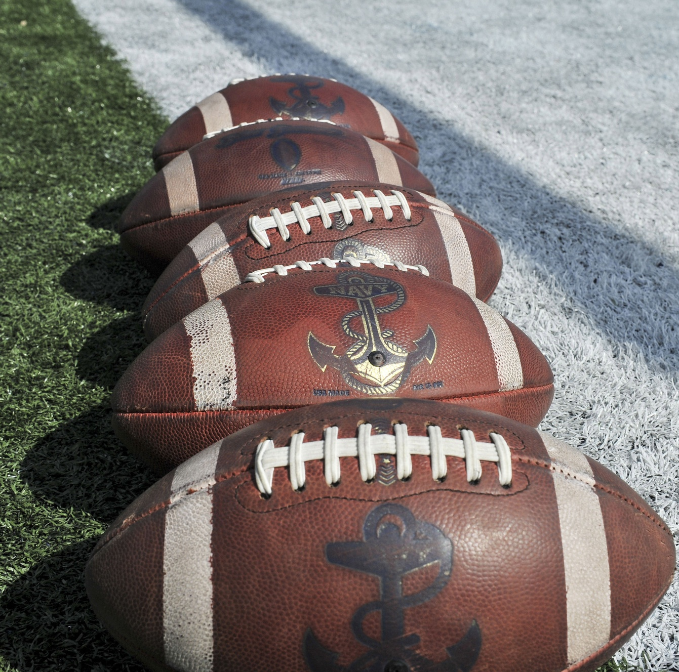 View of footballs before the Oct. 14, 2017, game between the Memphis Tigers and the Navy Midshipmen at Liberty Bowl Memorial Stadium. (Justin Ford/USA TODAY Sports)