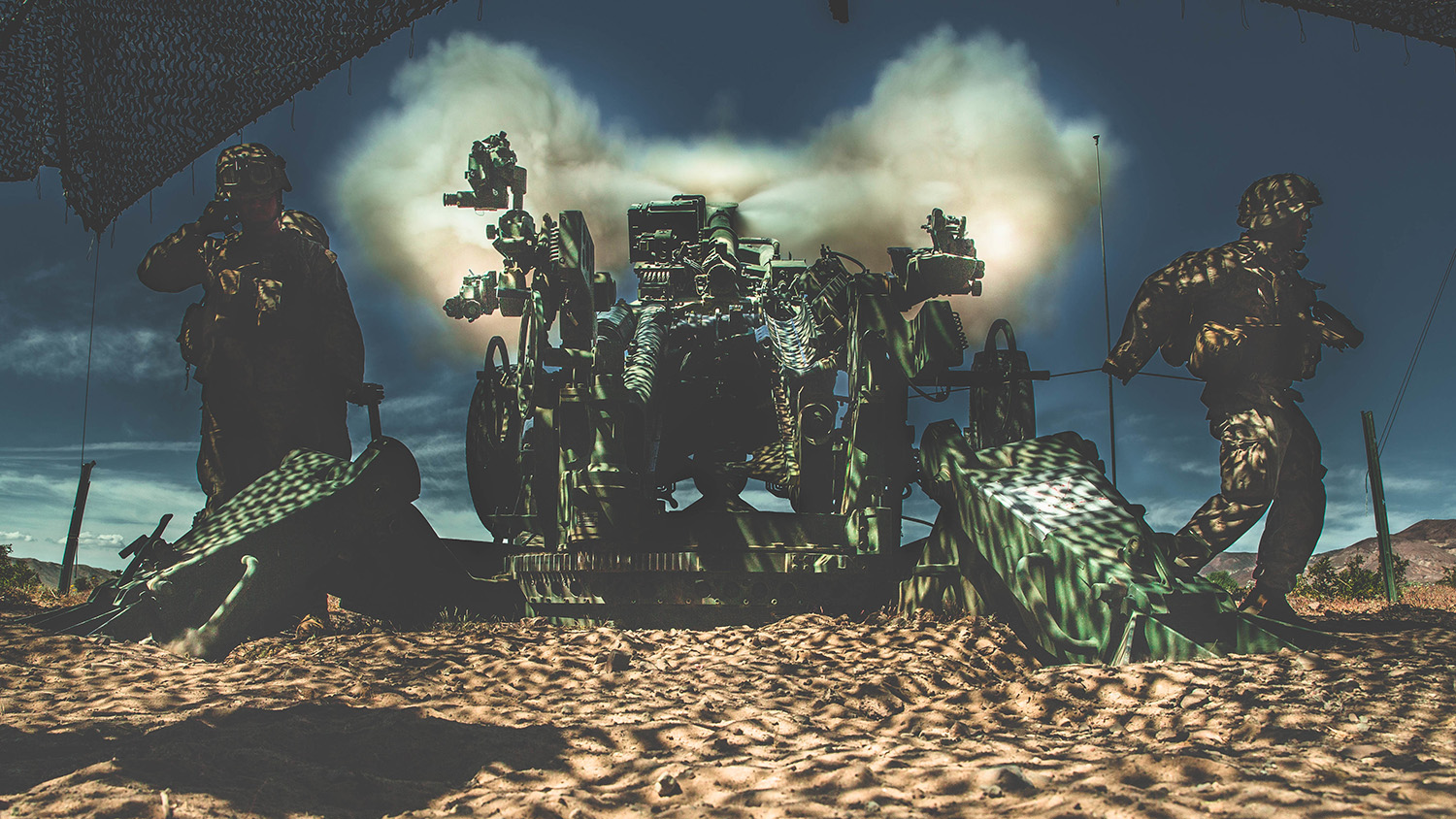 Marines conduct fire missions with the M777 Howitzer at Marine Corps Air Ground Combat Center, Twentynine Palms, Calif., April. 4, 2019. (Lance Cpl. William Chockey/Marine Corps)