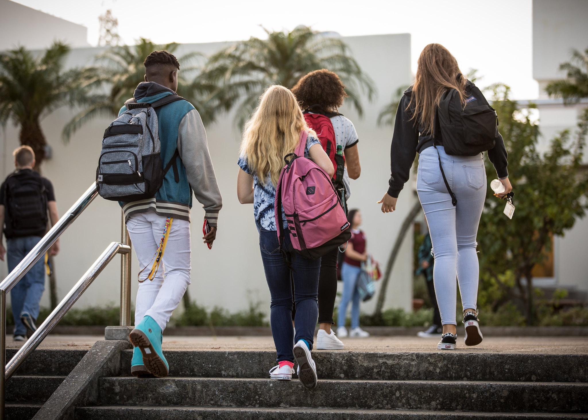 Students at Kubasaki High School in Okinawa, Japan, return from summer break in August 2018. (DoDEA)