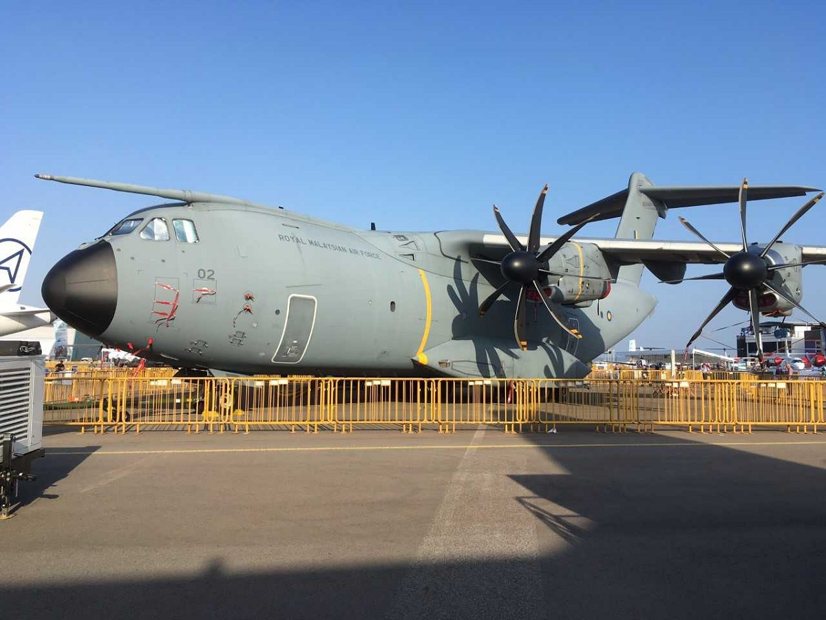 A Royal Malaysian Air Force Airbus A400M was on static display. (Mike Yeo/Staff)
