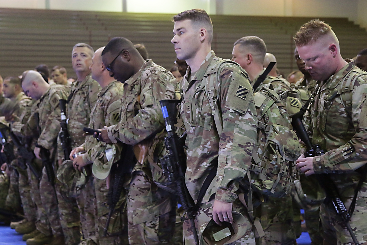 Soldiers of Headquarters and Headquarters Battalion, 3rd Infantry Division, gather at Fort Stewart, Georgia, Aug. 3 to deploy to Afghanistan for nine months. President Trump's announcement Aug. 21 that he will send more U.S. troops to Afghanistan drew condemnation from the Taliban. (Spc. Noelle E. Wiehe/Army)