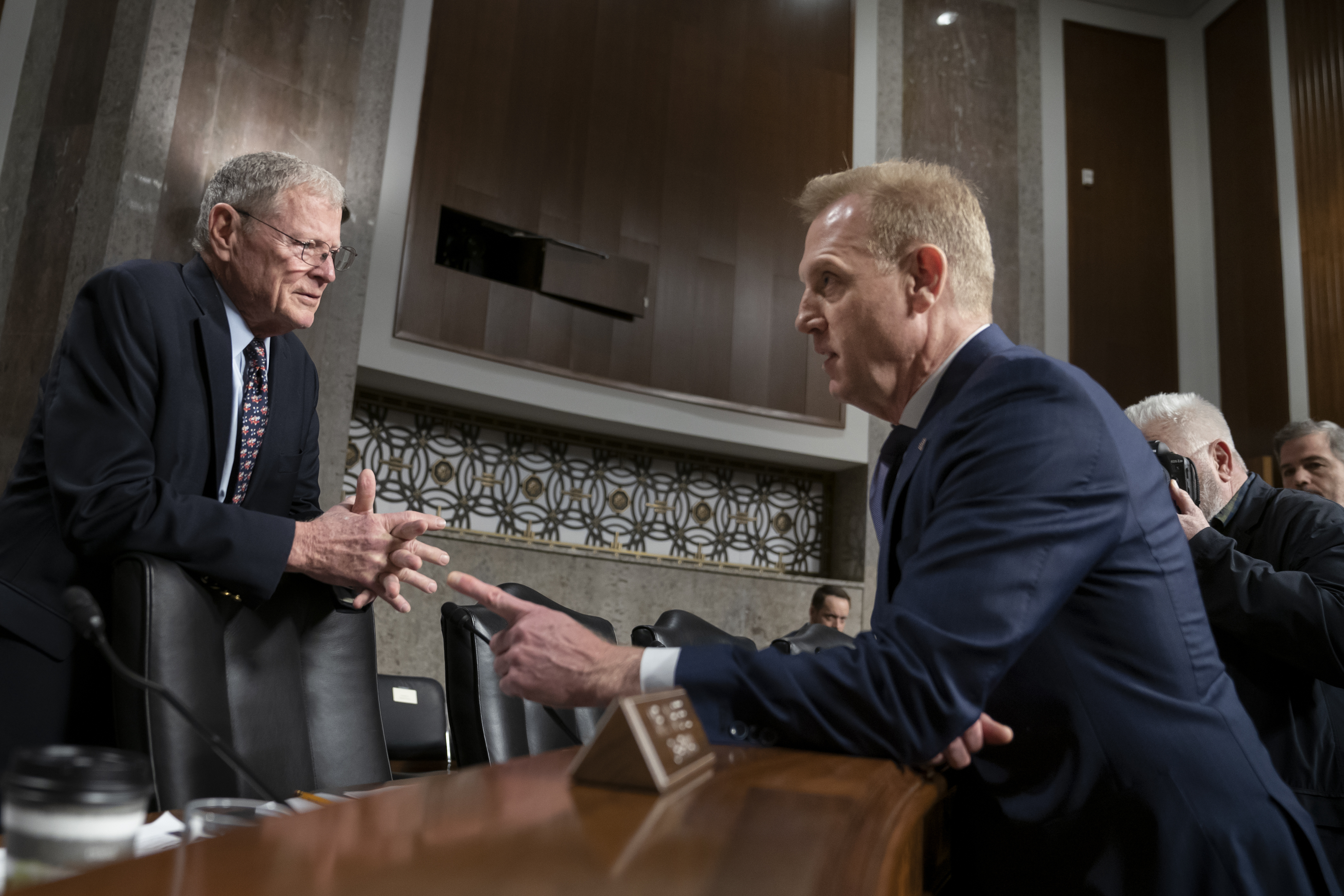 Senate Armed Services Committee Chairman Jim Inhofe, R-Okla., left, welcomes Acting Defense Secretary Patrick Shanahan to testify on the Department of Defense budget, on Capitol Hill in Washington, Thursday, March 14, 2019. (AP Photo/J. Scott Applewhite)