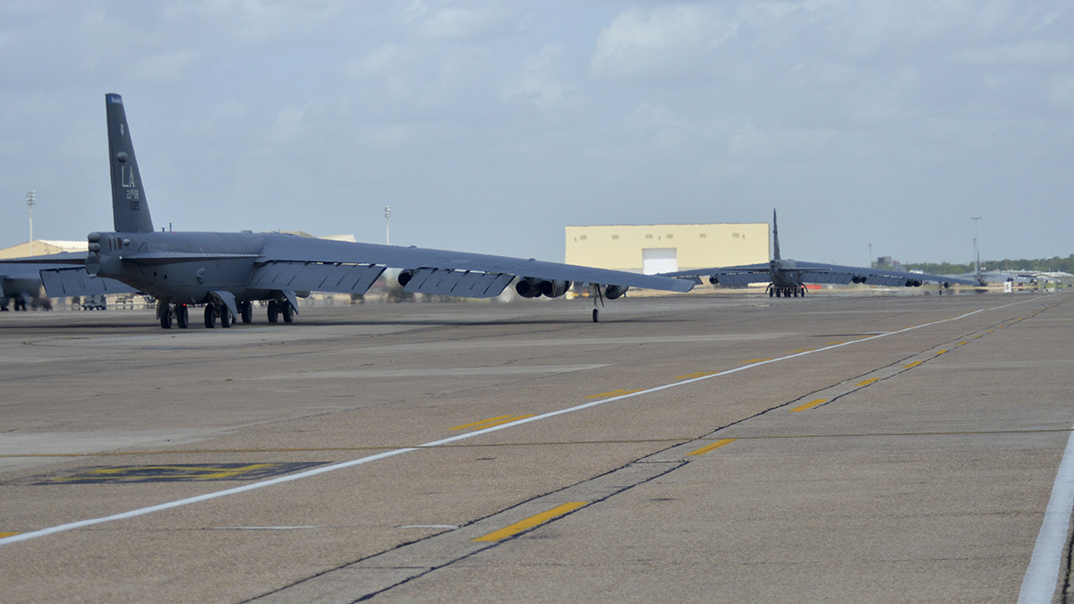 Two B-52H Stratofortress bombers taxi on the flight line prior to takeoff on Barksdale Air Force Base, La., Aug. 21, 2014. (Airman 1st Class Mozer Da Cunha/Air Force)