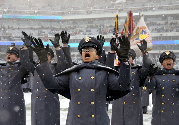 Simone Askew, first captain of the Corps of Cadets, leads the U.S. Military Academy march-on prior to Saturday's Army-Navy game in Philadelphia. Askew is the first black woman to hold the highest student position at West Point. (Elsa/Getty Images)