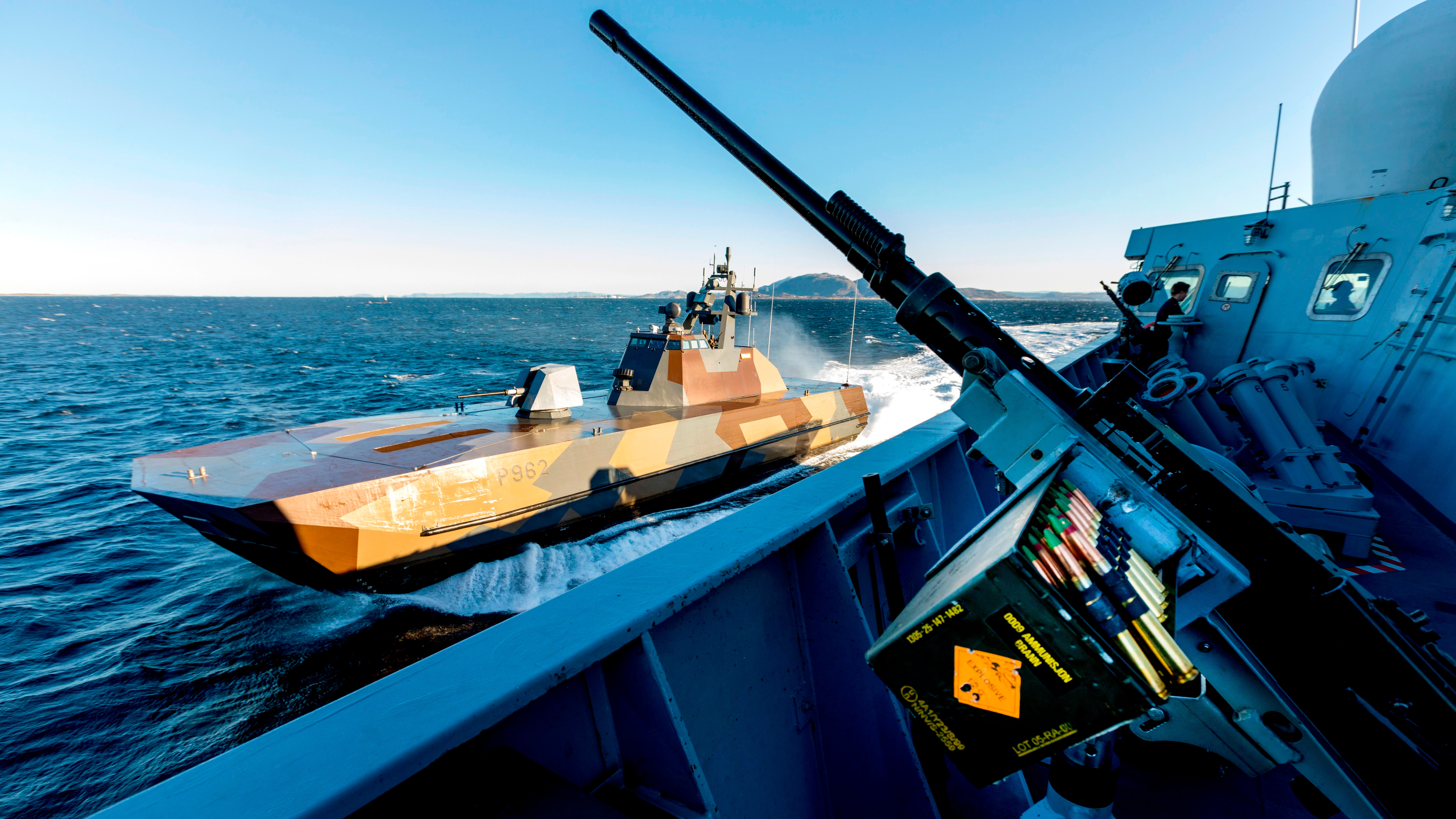 An Norwegian Motor Topedo Boat (MTB) KNM Skudd is pictured during the NATO-led military exercise Trident Juncture 2018 on October 29, 2018 off the coast of Trondelag in central Norway. - NATO's biggest military exercises since the end of the Cold War, dubbed Trident Juncture 18, take place in Norway from October 25 to November 7 in what will be a massive display of strength. (GORM KALLESTAD/AFP/Getty Images)