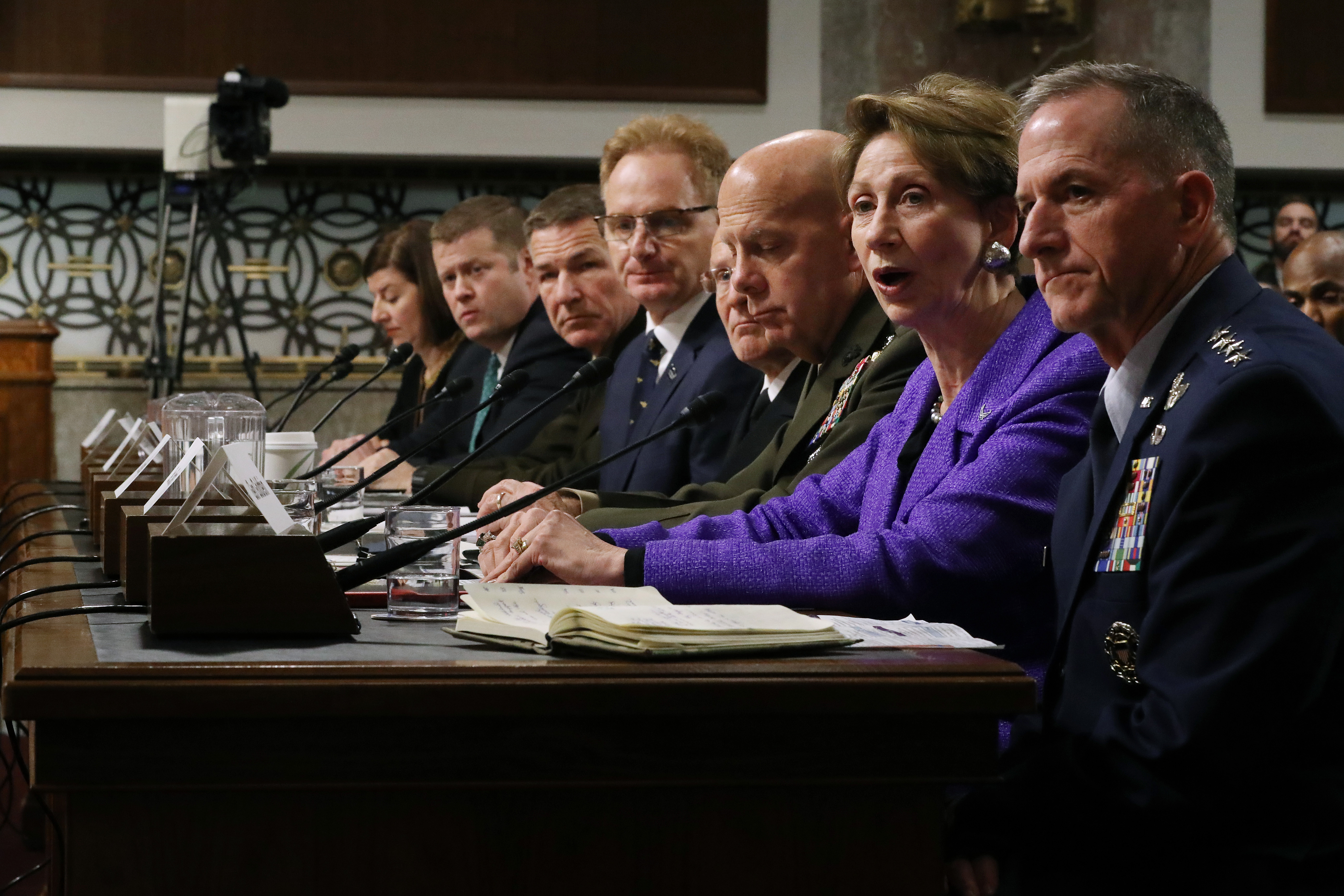 U.S. officials including Air Force Secretary Barbara Barrett (second from right) and Air Force Chief of Staff Gen. Dave Goldfein (right) testify before the Senate Armed Services Committee on Dec. 3, 2019. (Chip Somodevilla/Getty Images)