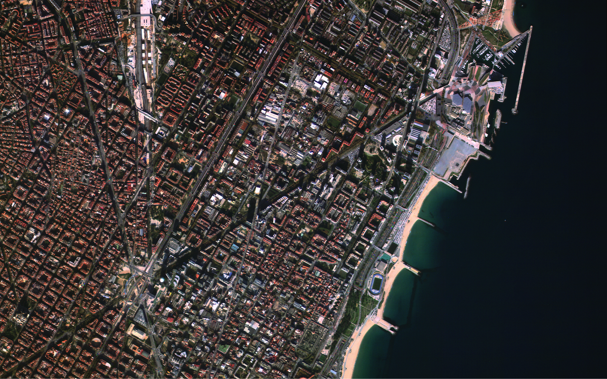 A sample satellite image of the city of Barcelona in Spain from the Argentine company Satellogic. (Satellogic)