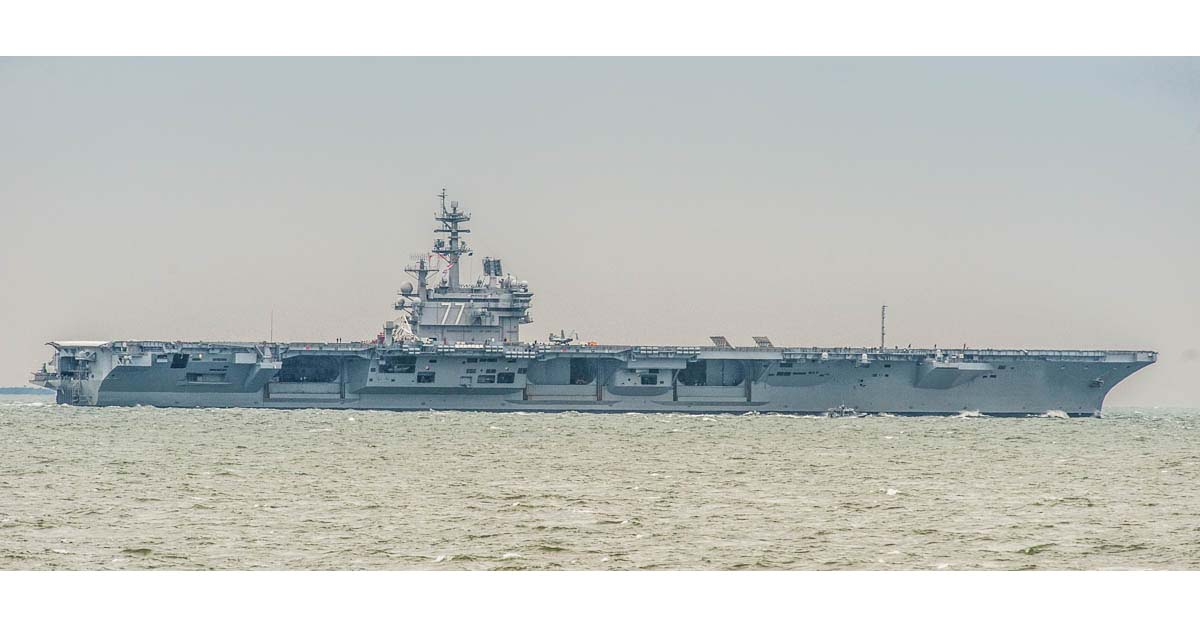 The nuclear-powered aircraft carrier George H.W. Bush steams through the Chesapeake Bay on May 7, 2018, at the start of joint US and French flight operations in Norfolk, Va. (Mark D. Faram/Staff)