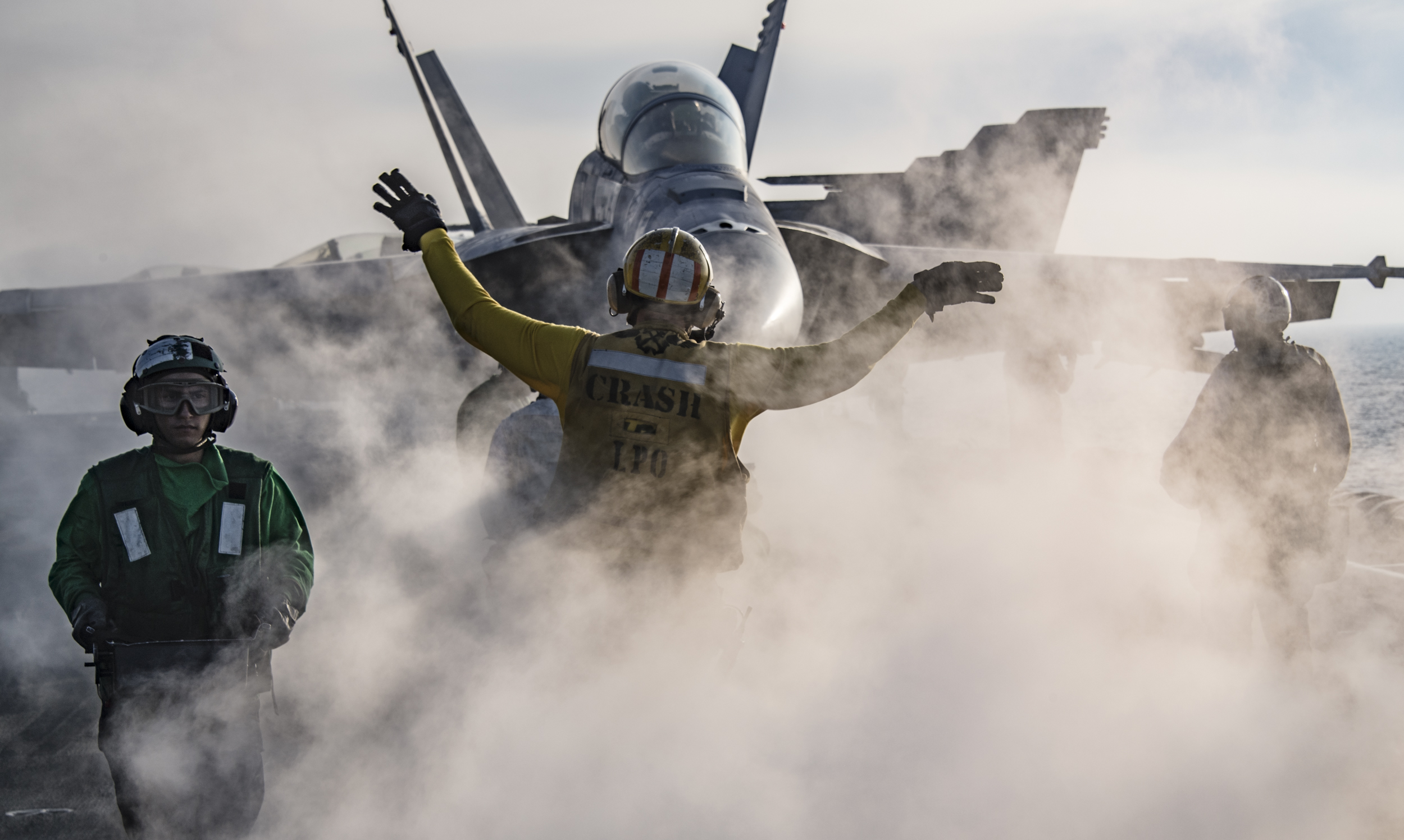 Sailors participate in flight operations on the flight deck of Nimitz-class aircraft carrier USS Carl Vinson (CVN 70). Carl Vinson Strike Group is currently operating in the Western Pacific as part of a regularly scheduled deployment. (MCS3 Dylan M. Kinee/Navy)