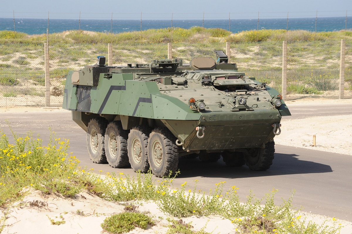 A Trophy Active Protection System is shown on a Stryker combat vehicle. (Courtesy of Rafael)