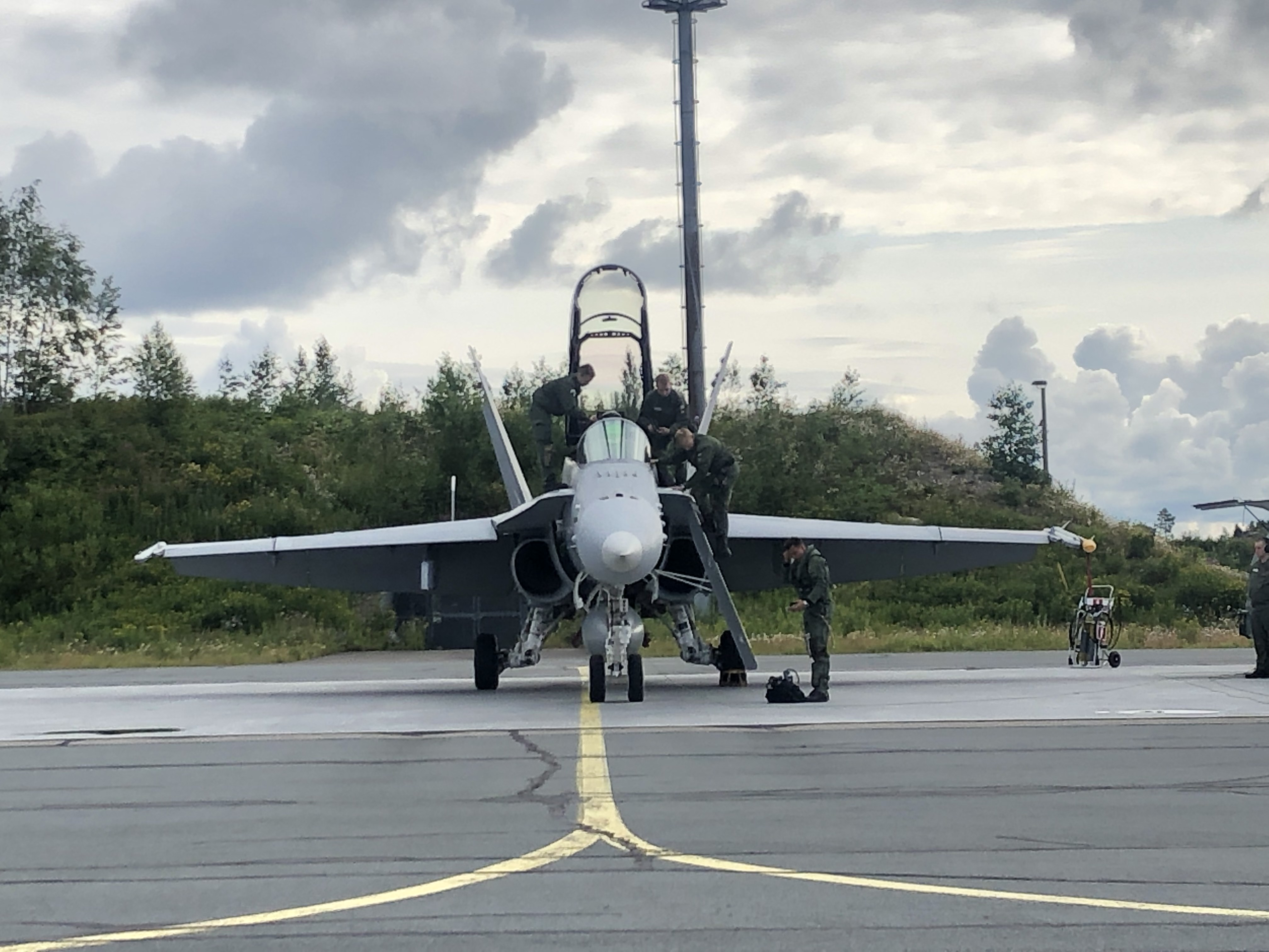 U.S. Air Force Chief Gen. Dave Goldfein prepares for a flight in a Finnish Air Force F/A-18D from Kuopio Air Base on July 15. (Valerie Insinna/Staff)