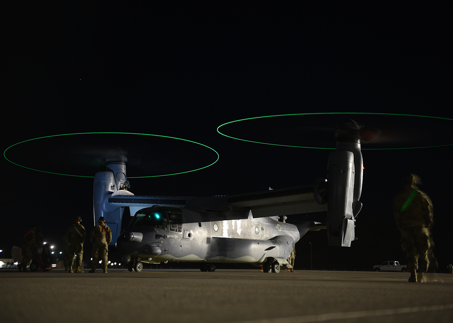 Tactical aircraft maintainers prepare to launch a CV-22B Osprey tiltrotor aircraft at Nellis Air Force Base, Nev., Oct. 10, 2019. (Airman 1st Class Bryan Guthrie/Air Force)