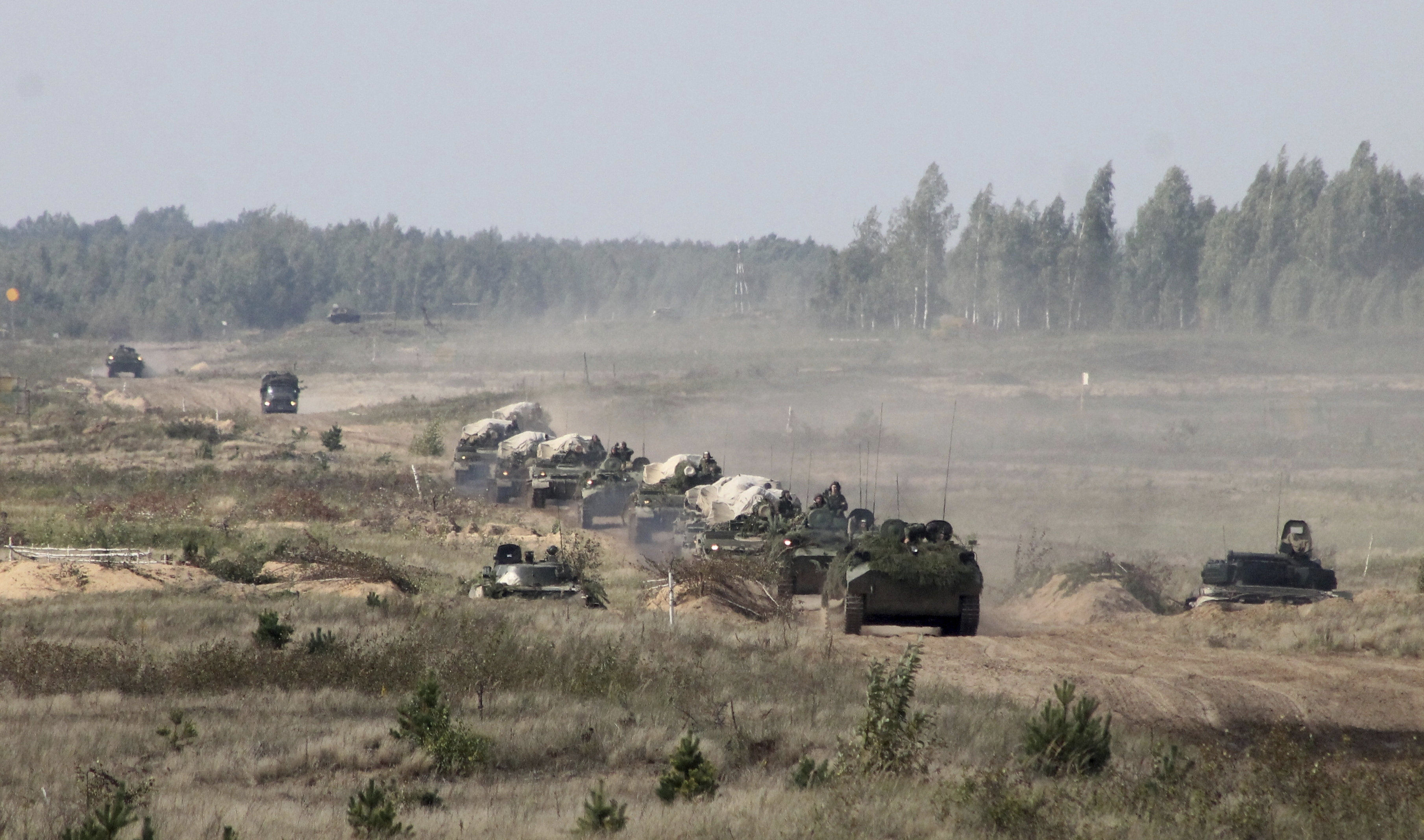 A military convoy arrives to a training ground at an undisclosed location in Belarus on Sept. 11, 2017. NATO and neighboring countries have expressed concern over the war games. (Vayar Military Agency photo via AP)