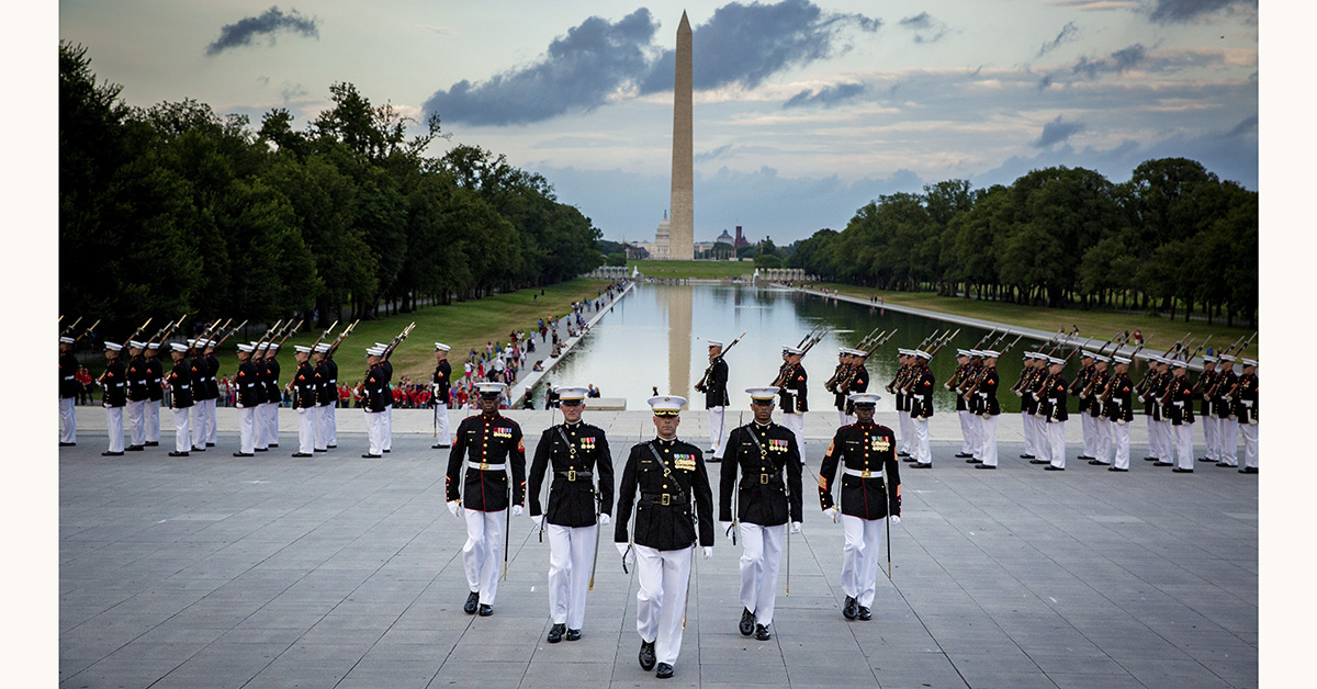 Marines with Marine Barracks Washington march in formation during the Sunset Parade at the Lincoln Memorial in the District of Columbia, July 17, 2018. (Staff Sgt. John A. Martinez Jr./Marines)