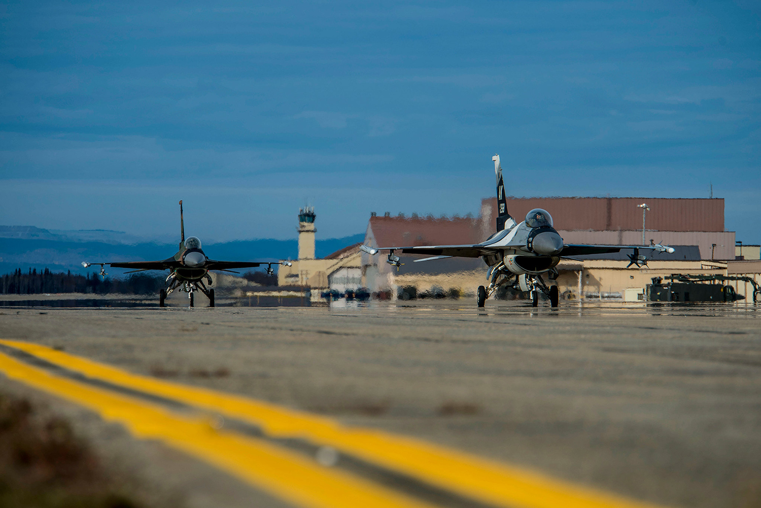 U.S. Air Force F-16 Fighting Falcons taxi on the flightline at Eielson Air Force Base, Alaska, Sept. 24, 2019. (Airman 1st Class Aaron Larue Guerrisky/Air Force)