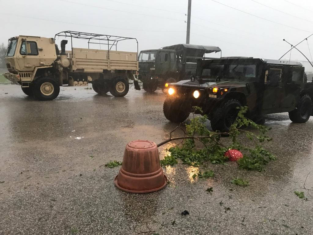 Texas National Guardsmen assess damage during Hurricane Harvey, Aug. 26, 2017, in Victoria, Texas. The Texas Military Department mobilized more than 1,200 service members to support first responders in the midst of Hurricane rescue operations. (Cpt. Martha Nigrelle/Army National Guard)