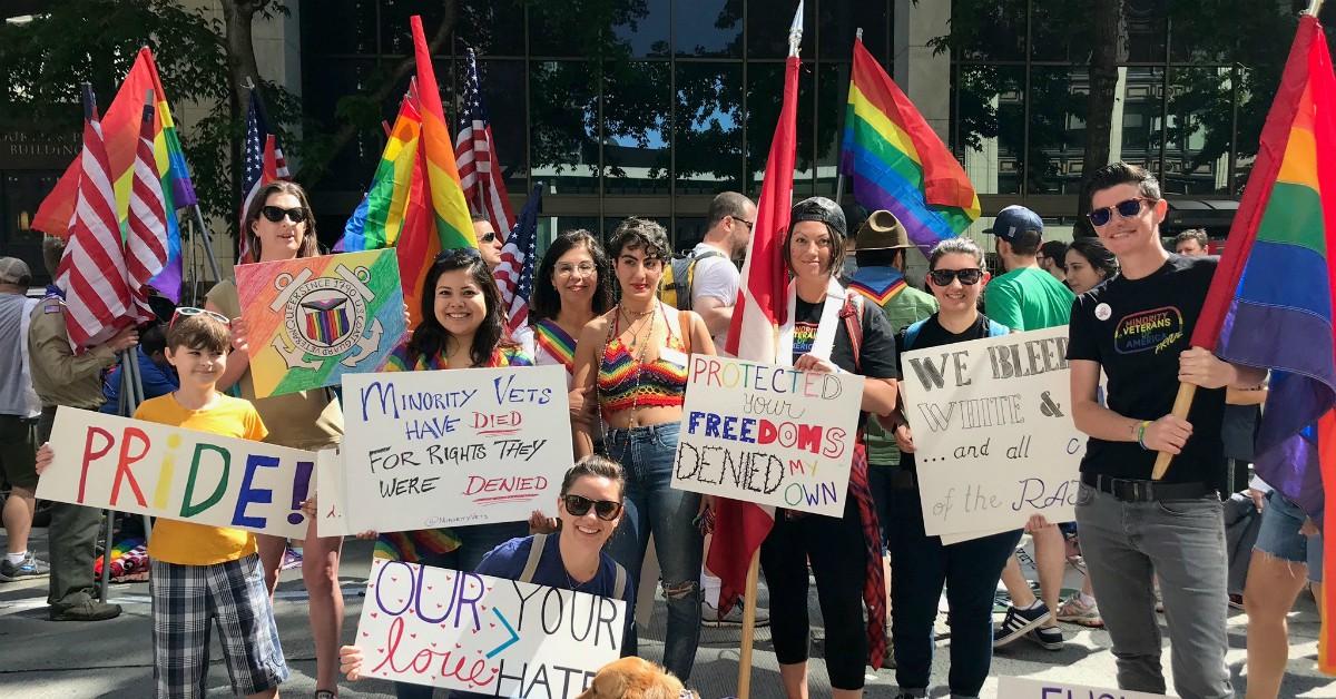 Minority Veterans of America helped lead the Seattle Pride parade in 2018. (Minority Veterans of America)