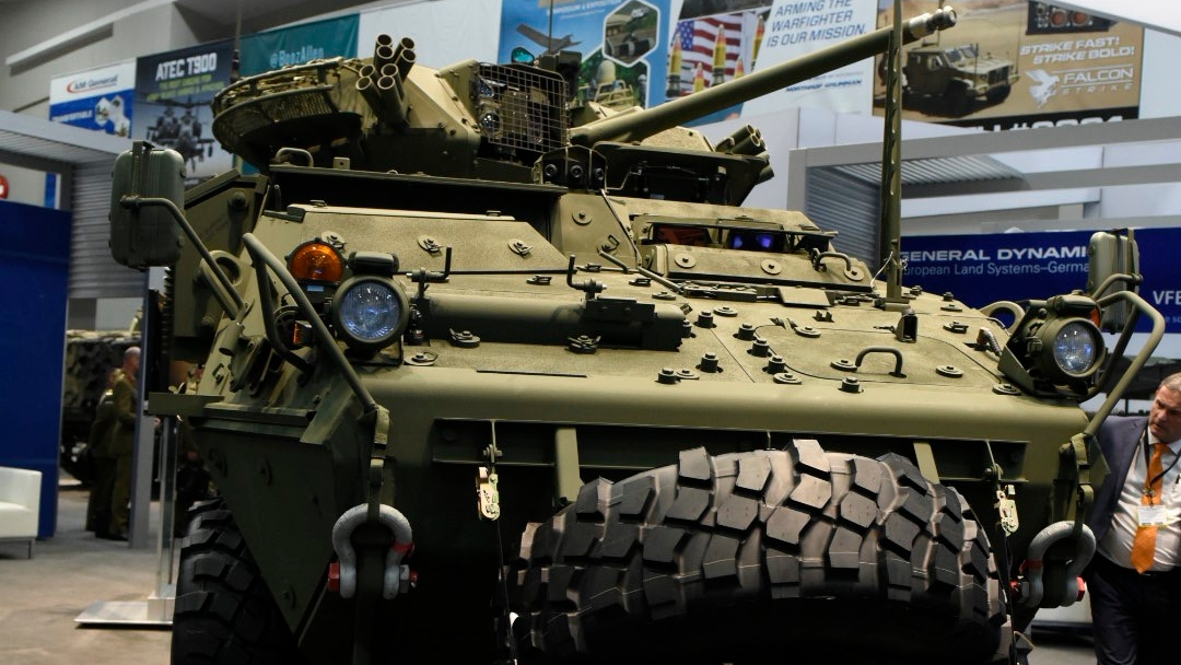 A Stryker vehicle with 30mm cannon on display at AUSA on Monday Oct.8, 2018. (Stephen Barrett/Special to Defense News & Army Times)