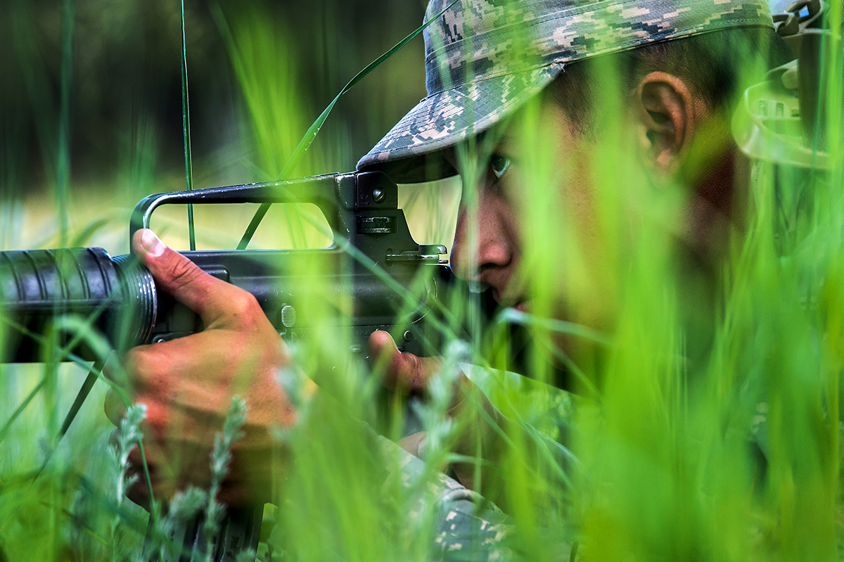 A U.S. Air Force Academy cadet takes cover, obscured by tall grass and foliage during Expeditionary Skills Training in Jacks Valley on June 28, 2019. (Trevor Cokley/Air Force)