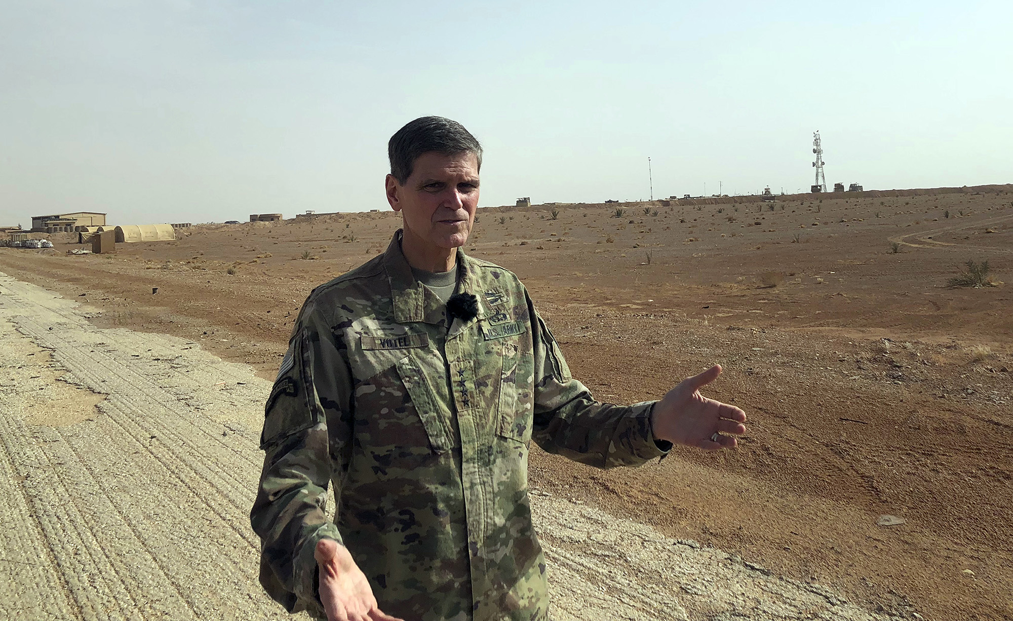 Gen. Joseph Votel, top U.S. commander in the Middle East, speaks to reporters during an unannounced visit Monday, Oct. 22, 2018, to the al-Tanf military outpost in southern Syria. The U.S. trains Syrian opposition forces at the outpost. (Lolita Baldor/AP)