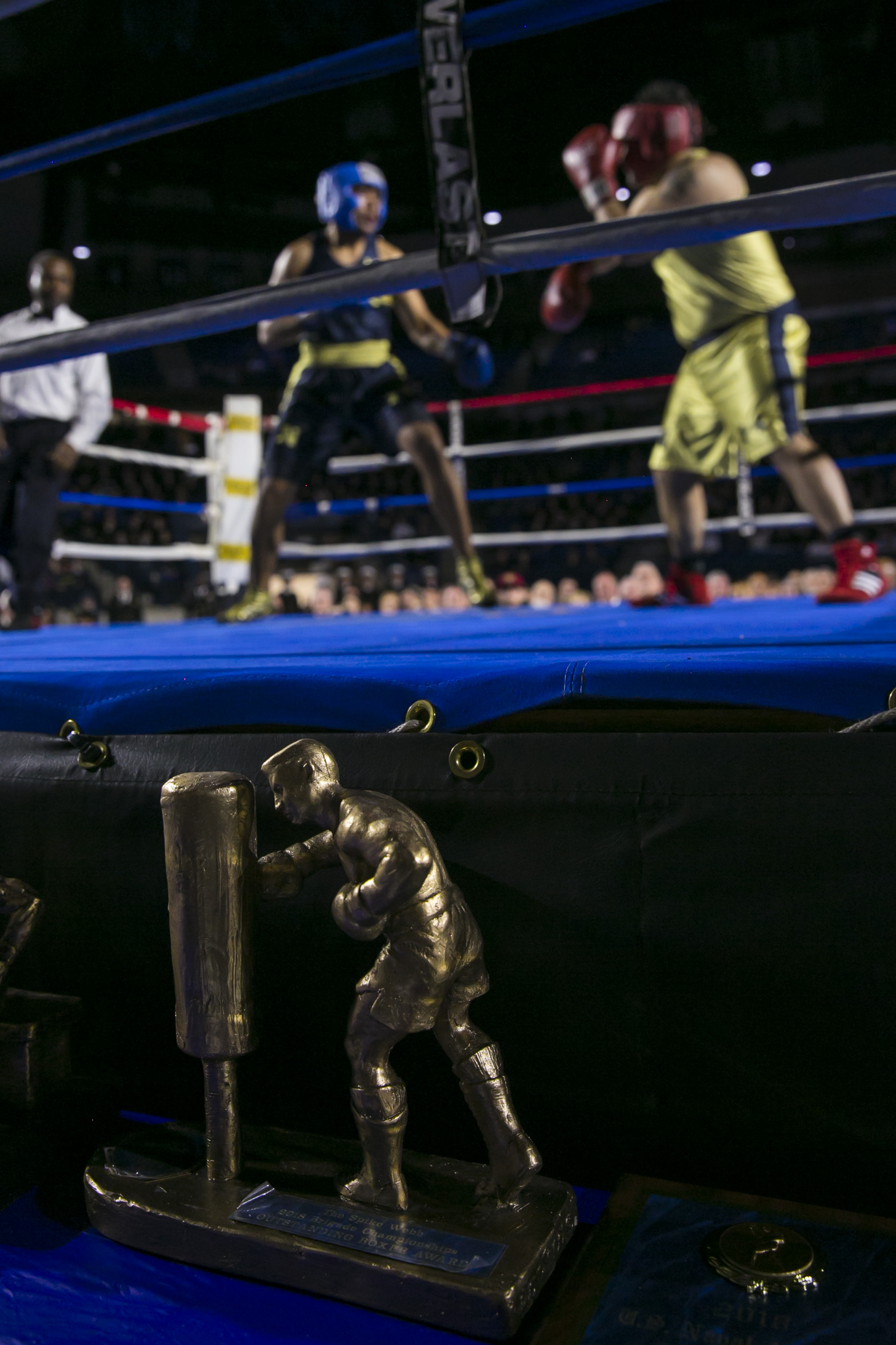 Charles Patterson, left, from Honolulu, HI fights Joey Resendez, right, from El Paso, TX, in the Heavyweight fight during the United States Naval Academy's 77th Brigade Boxing Championships held on Feb. 23, 2018. Patterson won the fight. (Alan Lessig/Staff)