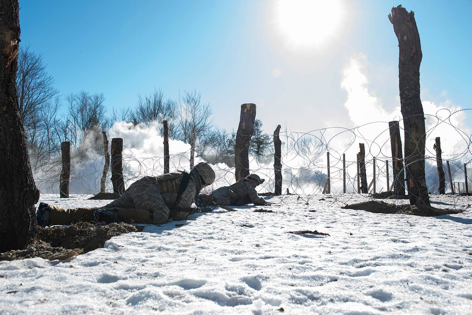 Vermont Army National Guard Soldiers conduct training at Camp Ethan Allen Training Site, Jericho, Vt., Feb. 10, 2019. (Vermont National Guard)