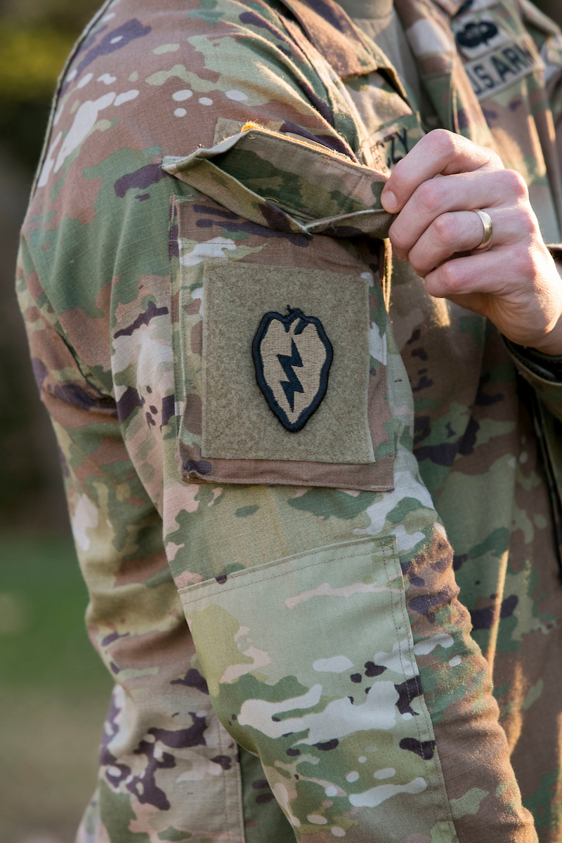 The Army's new Hot Weather Uniform features shoulder pockets that open up instead of to the front. (Alan Lessig/Staff)