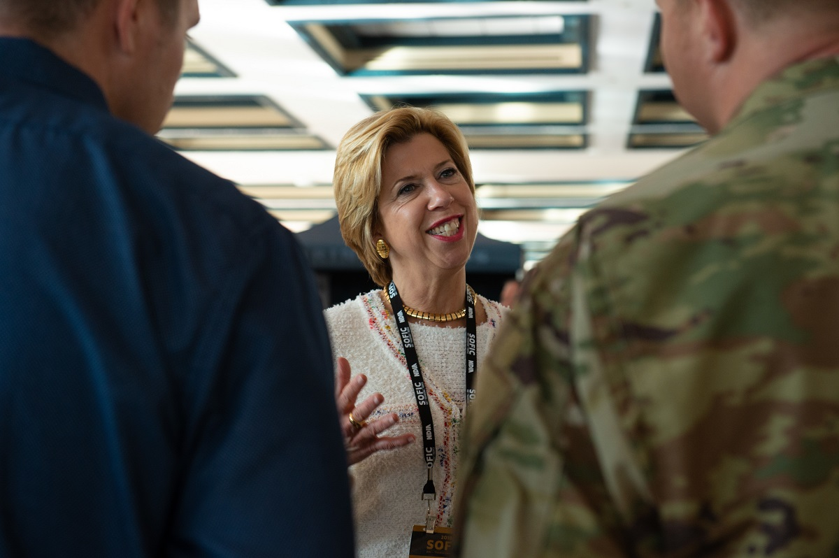 Ellen Lord, under secretary of defense for acquisition and sustainment, meets with U.S. Army Special Operations Command personnel during the 2018 Special Operations Forces Industry Conference. Lord's office is undergoing a reorganization. (Master Sgt. Barry Loo/U.S. Air Force)
