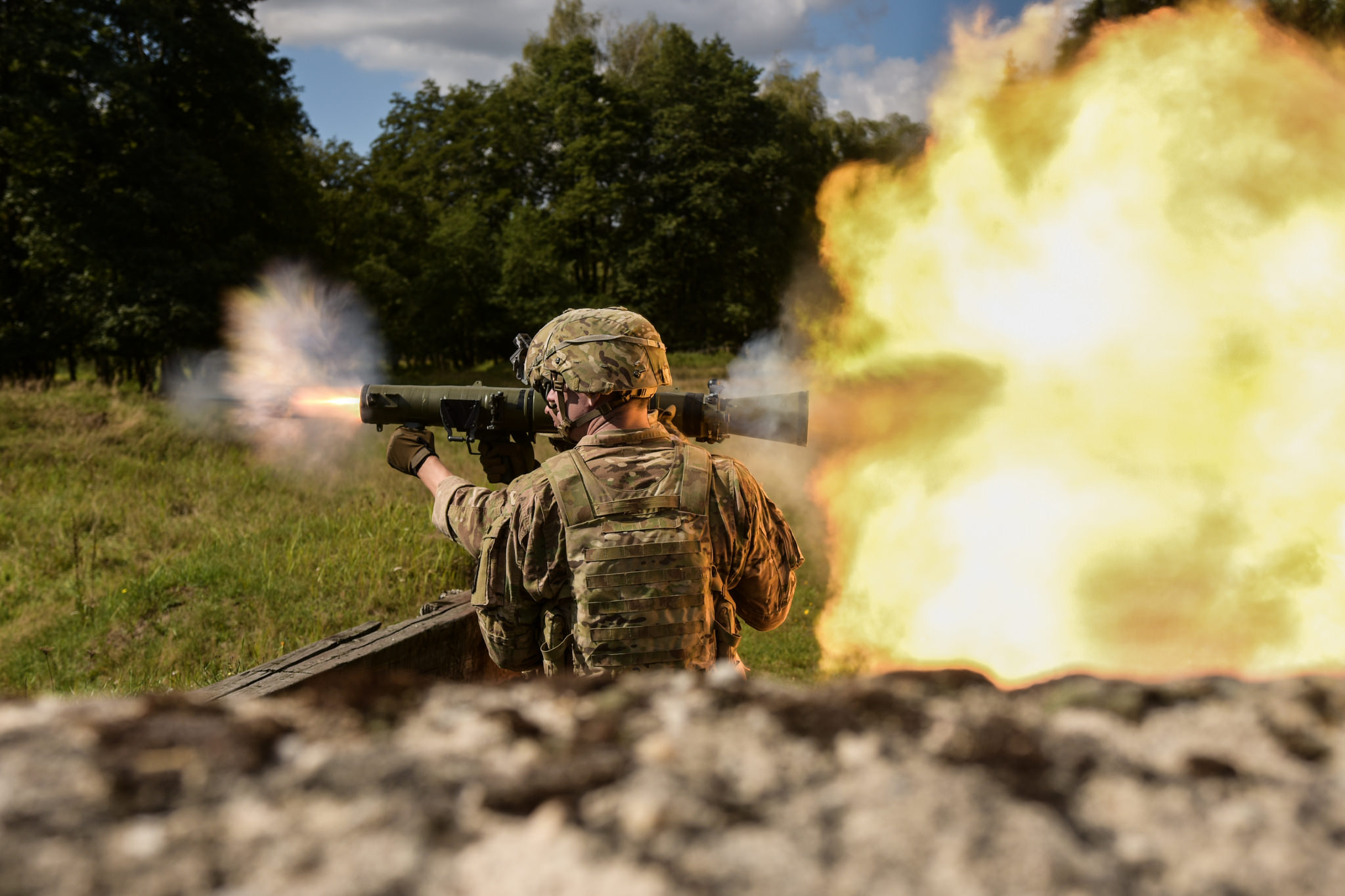 U.S. soldiers assigned to the 1st Battalion, 503rd Infantry Regiment, 173rd Airborne Brigade engaged targets with the Carl Gustaf 84mm weapon system in Grafenwoehr, Germany, Sept. 8, 2018, during Saber Junction 18. (Capt. Joseph Legros/Army)