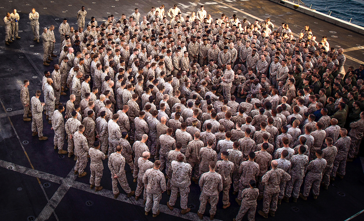 Marines from the 26th Marine Expeditionary Unit form the familiar