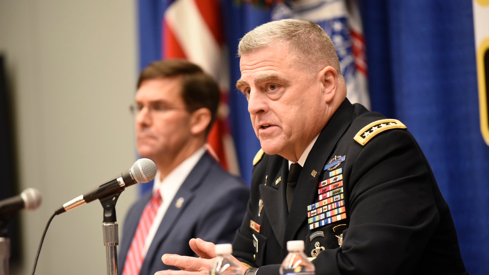 Army Chief of Staff Gen. Mark Milley, right, and Army Secretary Mark Esper, left, during a press conference at AUSA on Monday Oct.8, 2018. (Stephen Barrett/Special to Defense News & Army Times)
