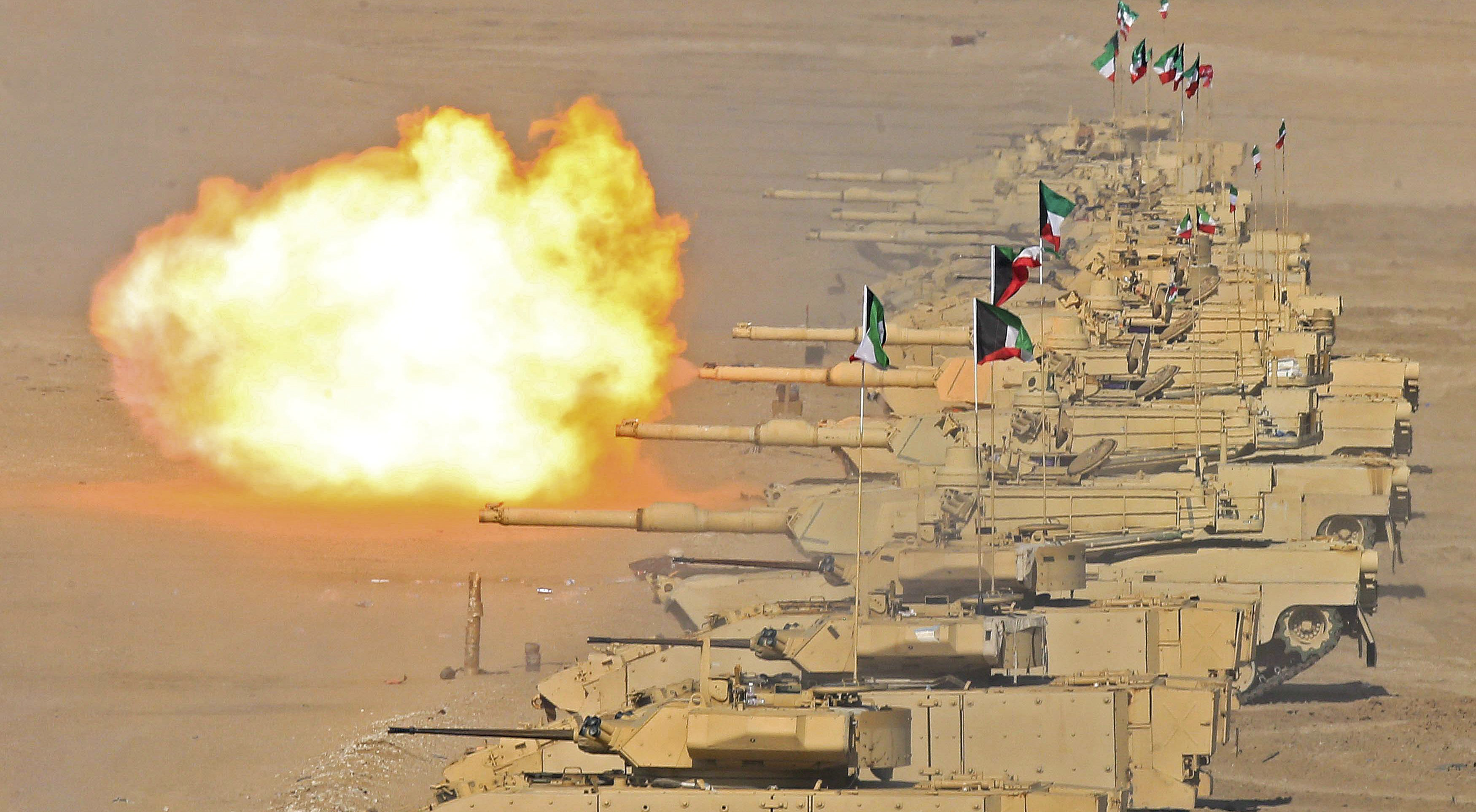 Kuwaiti and French army forces take part during the closing ceremony of a joint drill code-named