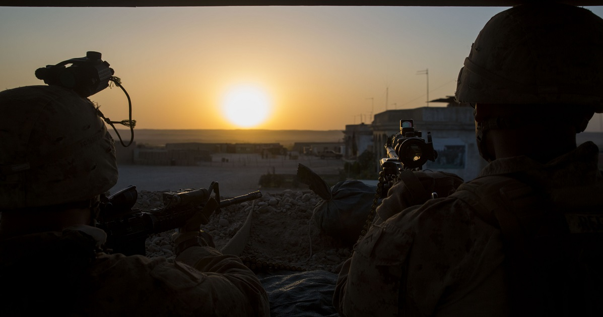 Marines with Task Force Southwest stand post during an expeditionary advisory package at Camp Nolay in Sangin district. (Sgt. Luke Hoogendam/Marine Corps)