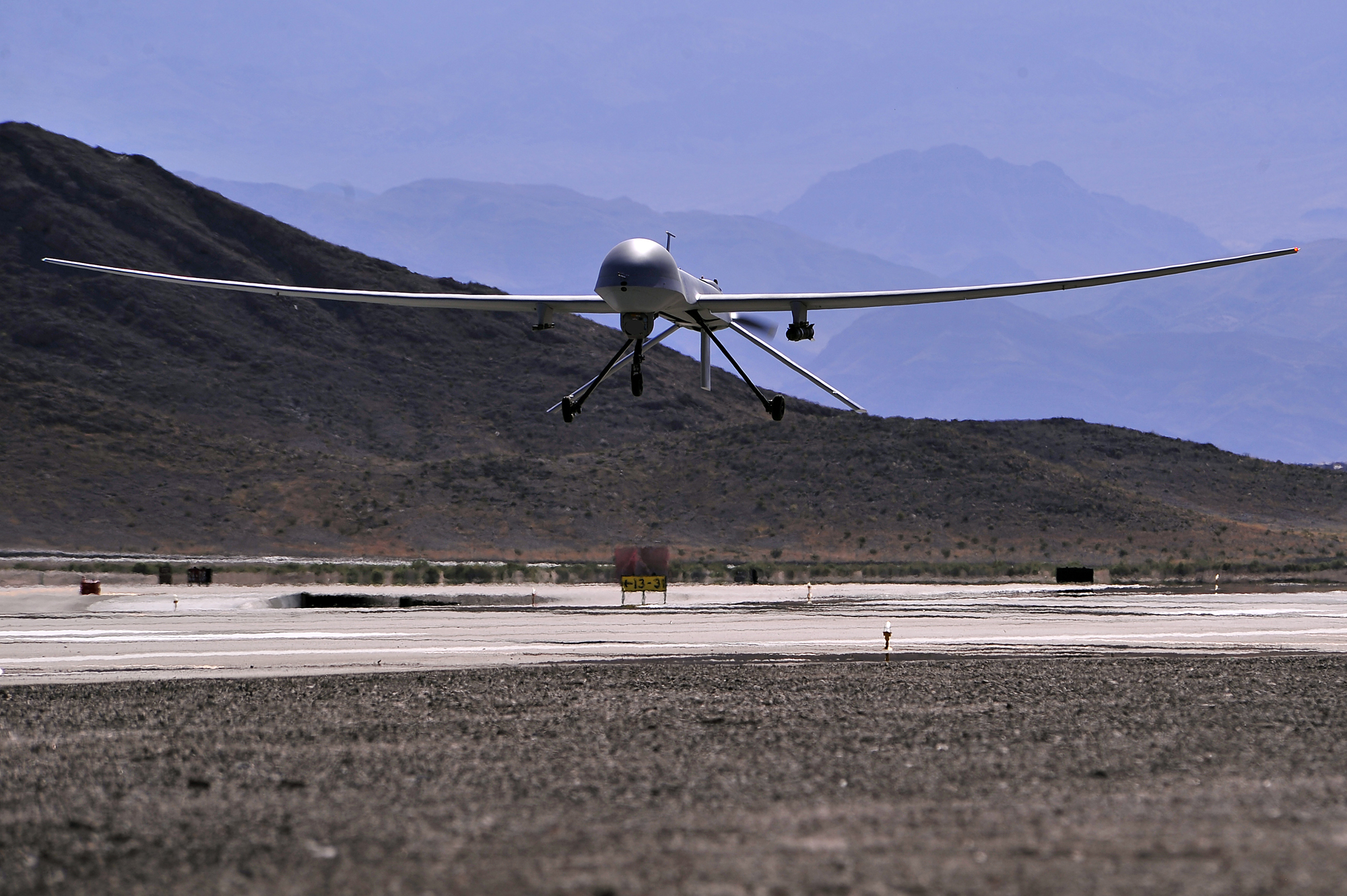 An MQ-1 Predator remotely piloted aircraft, like the one shown here, crashed in a field in Adana, Turkey, on Thursday. (Senior Master Sgt. Paul Holcomb, 432nd Air Expeditionary Wing, Air Force)